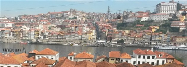 View of Porto looking across the warehouse roofs from Vila Nova de Gaia